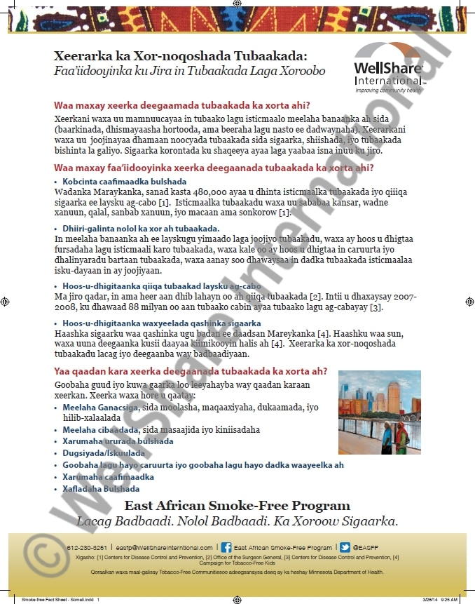 Tobacco Free Grounds Fact Sheet - Somali - Downloadable