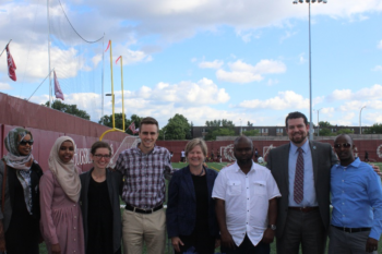 From left: Wardo Ahmed, Saida Mohamed, Ashley Mitchell, Matthew Burgstahler, Diana DuBois, Coach Ahmed, Nicholas Rogers.