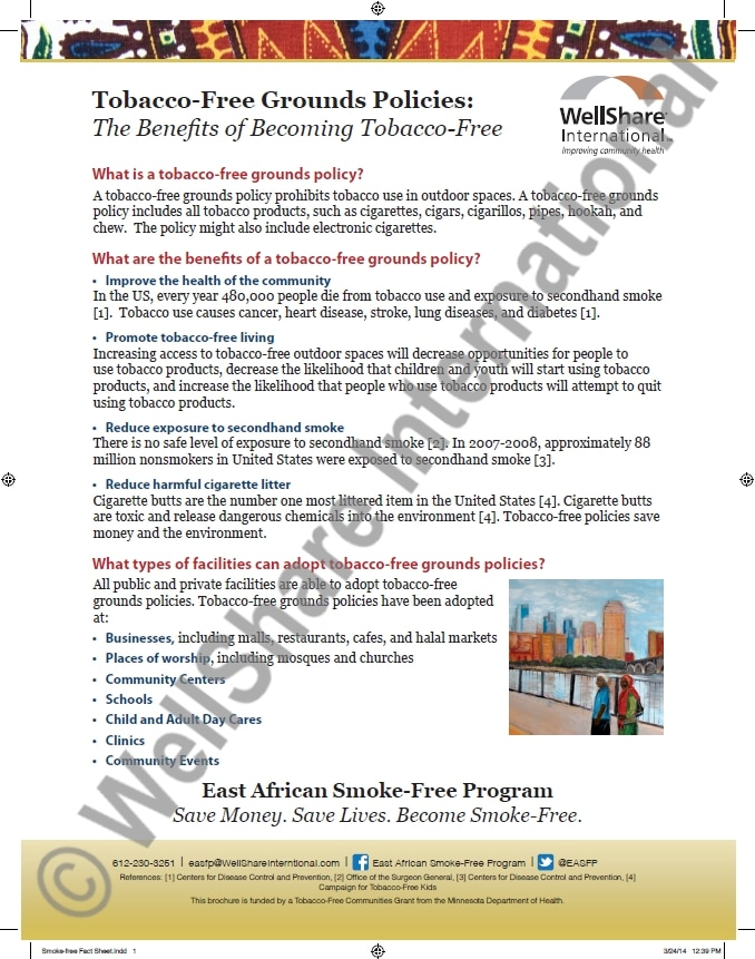 Tobacco Free Grounds Fact Sheet - English - Downloadable