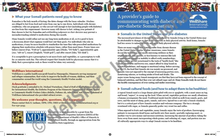 Provider's guide to communicating with diabetic and pre-diabetic Somali patients - English - Downloadable
