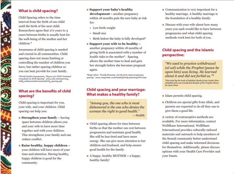Healthy Families and the Somali Man: Child Spacing and Your Family brochure - English - Downloadable